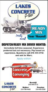 Ready Mix, Lakes Concrete Plus, Bemidji, MN Driver Of Concrete Truck In Fatal Crash Charged With Motor Vehicle Concrete Pump Truck Stock Photos Images Job Drivers Fifo Hragitatorconcrete Port Hedland Jcb Cement Mixer Middleton Manchester Gumtree Hanson Uses Two Job Descriptions Wrongful Termination Case My Building Work Cstruction Career Feature Teamster The Scoop Newspaper Houston Shell Gets New Look Chronicle Miscellaneous Musings Adventures In Driving Or Never Back Down Our Trucks Loading And Pouring Cement Youtube  Driver At Plant Atlanta