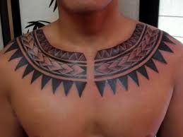 Maori Tribal Necklace Shape Tattoo For Men