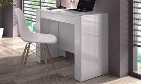 bureau blanc laqué brillant console extensible blanc mat free en ligne fly pour bureau