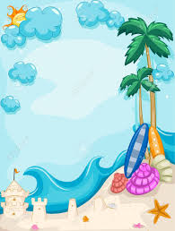 Vertical Tropical Beach Frame A Sand Castle Clipart
