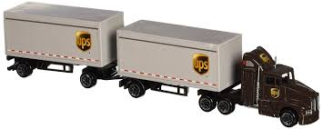 Amazon.com: Daron UPS Die Cast Tractor With 2 Trailers: Toys & Games