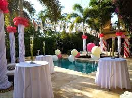 Backyard Party Decoration Ideas Pool Decorating Huge Balloon Column Palm Tree