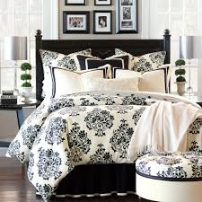Evelyn Floral Damask Bedding Collection in Black and White