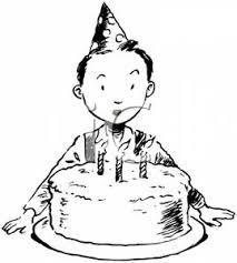 Black and White Boy with a Birthday Cake Royalty Free Clipart Picture
