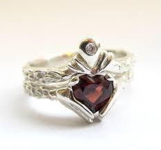 Claddagh Wedding Engagement Ring Set Silver Claddagh Celtic