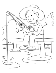 A Boy Is Fishing Coloring Pages