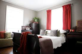 Room Gray Walls Red Curtains