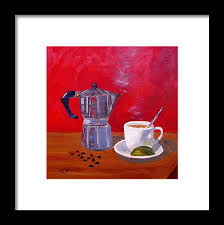 Cuban Coffee Framed Print Featuring The Painting Beans And Lime By Maria Soto Robbins