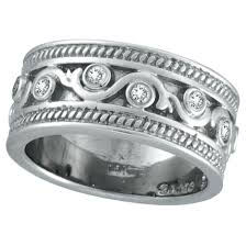 14K White Gold 24ct Antique Rustic Style Diamond Band Ring