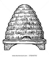 Beehive Engraving Vintage Vector Black Illustration Stock Vector