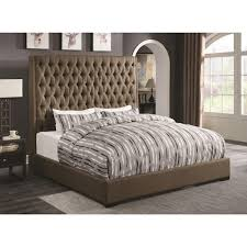 Camille Upholstered Beds King Upholstered Bed in Brown Fabric KE