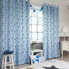 Blue Animal Print Poly Cotton Blend Custom Kids Curtains