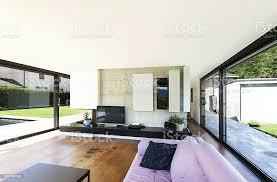 moderne villa innenansicht wohnzimmer und blick auf stockfoto und mehr bilder architektur