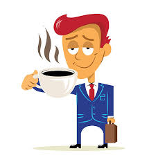 Business Man Happy Worker Standing Holding Coffee And Briefcase Clip Art Vector Images Illustrations
