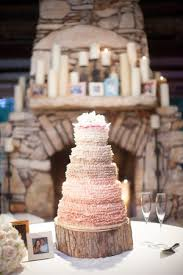 Pink Ombre Cake Wood Farmhouse Table Wedding Reception