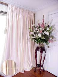 Thai Silk Pleated Draperies in Two tone Pale Pink and Ivory