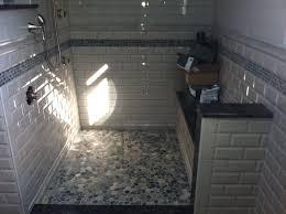 sliced bali pebble tile shop black bathroom blue and gray
