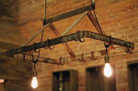 kitchen pot rack with lights features rectangle shape