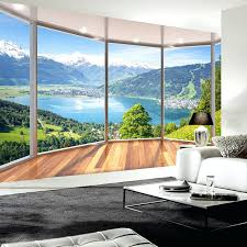 living room wall murals custom photo wallpaper balcony forest lake
