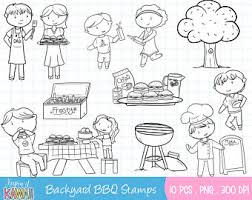 Backyard Barbeque Black and White Digital Stamps BBQ Stamps Backyard BBQ Clipart BBQ