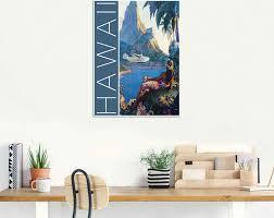 artland wandbild hawaii vintage reiseplakat amerika 1 st in vielen größen produktarten alubild outdoorbild für den außenbereich