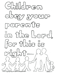 Coloring Pages Scripture For Adults Bible Kids Children Obey Your Parents Free Kid