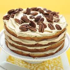 Banana Layer Cake with Caramel Cream and Pecans recipe