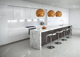 Moderne Weisse Küchen Bilder Moderne Minimal Weiße Küche Mit Marmor Und Holz Details