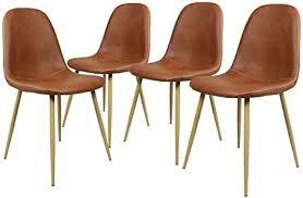 homy casa 4 stück stühle skandinavischen braun esszimmer stühle vintage küche aus pu leder braun