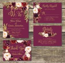 Marsala Wedding Invitation Template Printable Set Rustic Floral