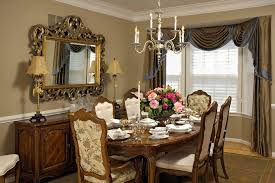 Modern Dining Room Curtain Ideas Traditional With Place Setting Wood Chairs Table