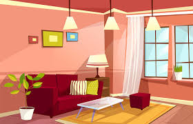 vector living room interior background template cozy house