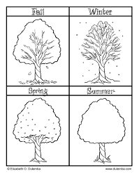 Printable Seasons Coloring With Fall Winter Spring And Summer Pages For Kids