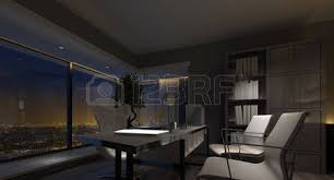 spacious luxury home office interior at with dim lighting