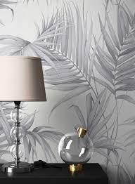 newroom vliestapete blumentapete grau palmen wallpaper floral blumen tapete dschungel pflanzen wohnzimmer schlafzimmer büro flur kaufen otto