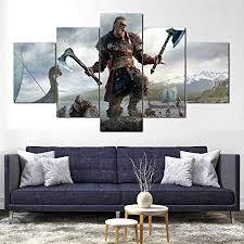 runtooer bilder modern assassinen glaubensbekenntnis walhalla wikinger 5 tlg leinwandbilder bild auf leinwand vlies wandbild kunstdruck wanddeko wand