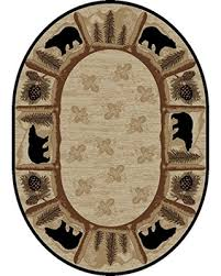 Rug Empire Rustic Lodge Area Oval Bear Cabin Multi 7472