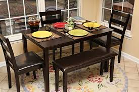 5pc Dining Dinette Table Chairs Bench Set Espresso Brown 150232b