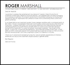 Investment Analyst Cover Letter Sample
