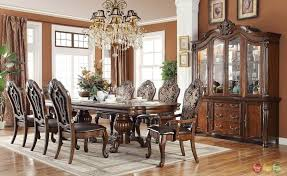 Astounding Formal Dining Room Sets With Large Hutch And Decorative Chandelier