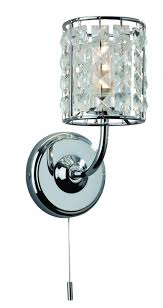 firstlight 6150ch pearl 1 light chrome wall light ip44 current