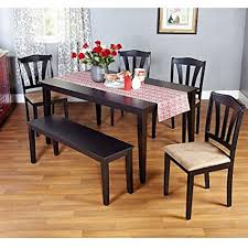 Metropolitan Black 6 Piece Dining Set With Table Bench And Four Chairs For
