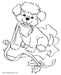 22 Christmas Dog Coloring Pages Animals Printable