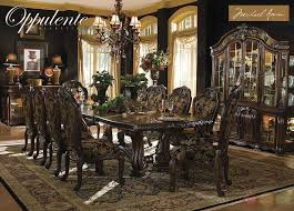 Oppulente Luxury 13 Piece Formal Dining Room Set China Cabinet Michael Amini AicoMichaelAmini Traditional TableChairSets