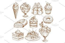 Bakery shop sketch icons of vector pastry desserts Illustrations