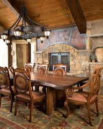 Rustic Farmhouse Dining Room Design With Old Metal Oversized Chandeliers Above Large Table Ideas