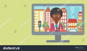 Television Set Broadcasting The News With An African American Reporter On A City Background Vector