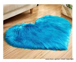 wohnzimmer schlafzimmer plüsch herz teppich in blau