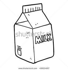 freehand drawn black and white cartoon milk carton