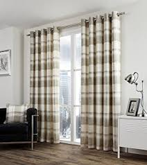 Amazon Uk Living Room Curtains by One Pair Of Balmoral Check Eyelet Header Curtains In Natural Size